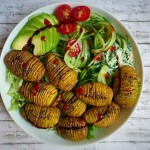 Oilfree Hasselback Potatoes with Aquafaba