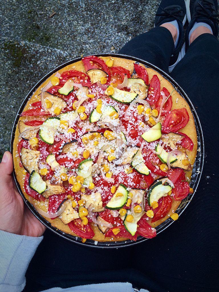 Veggie Pizza with Corn Crust