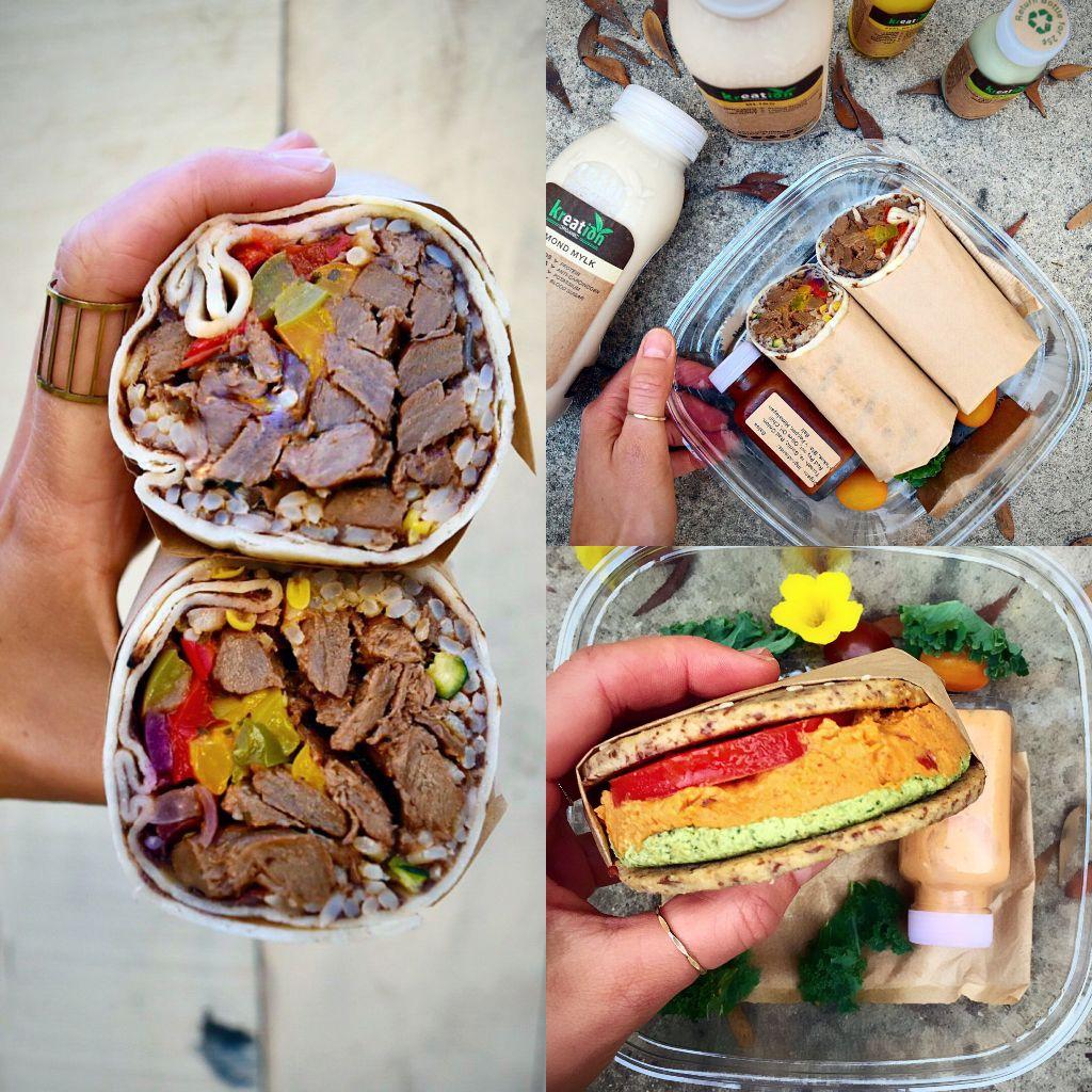 Raw Burger, Vegan Burrito