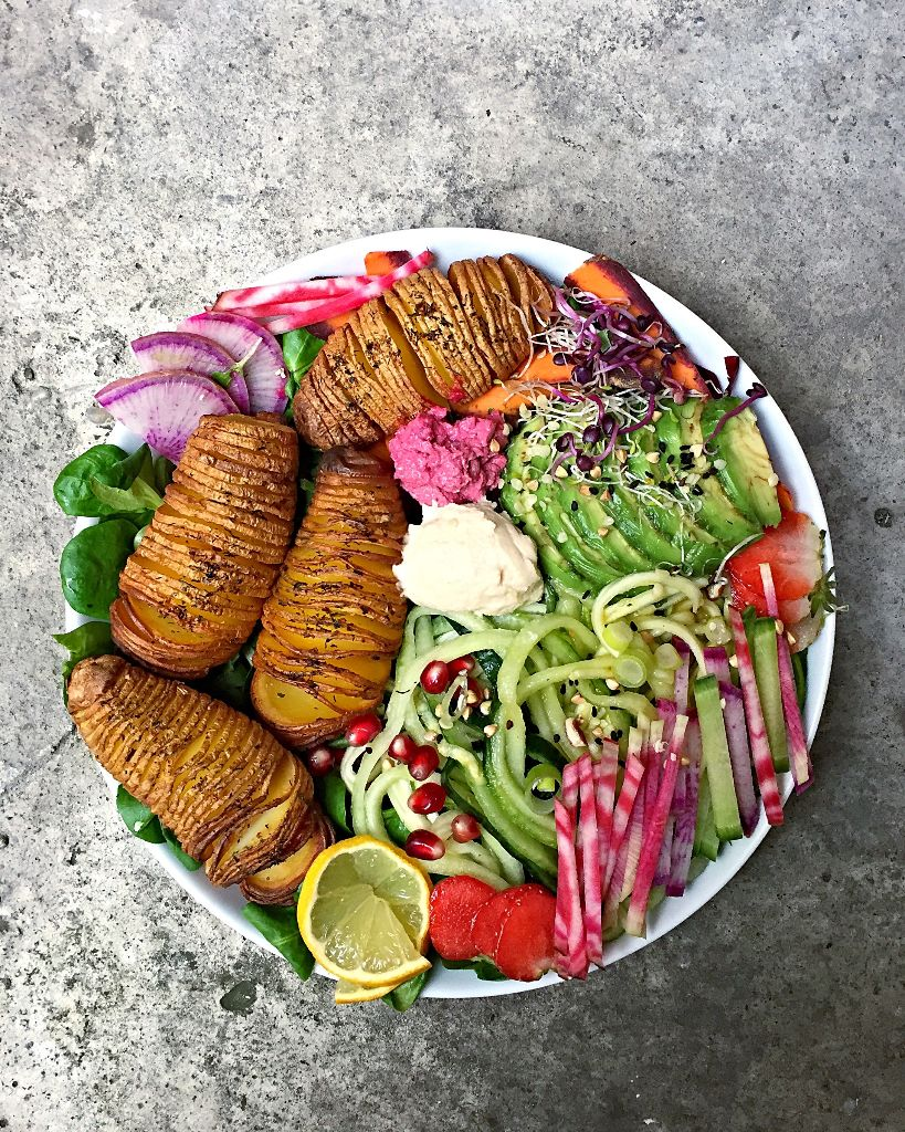 Rainbow Hasselback Beet Bowl, Vegan, Oilfree