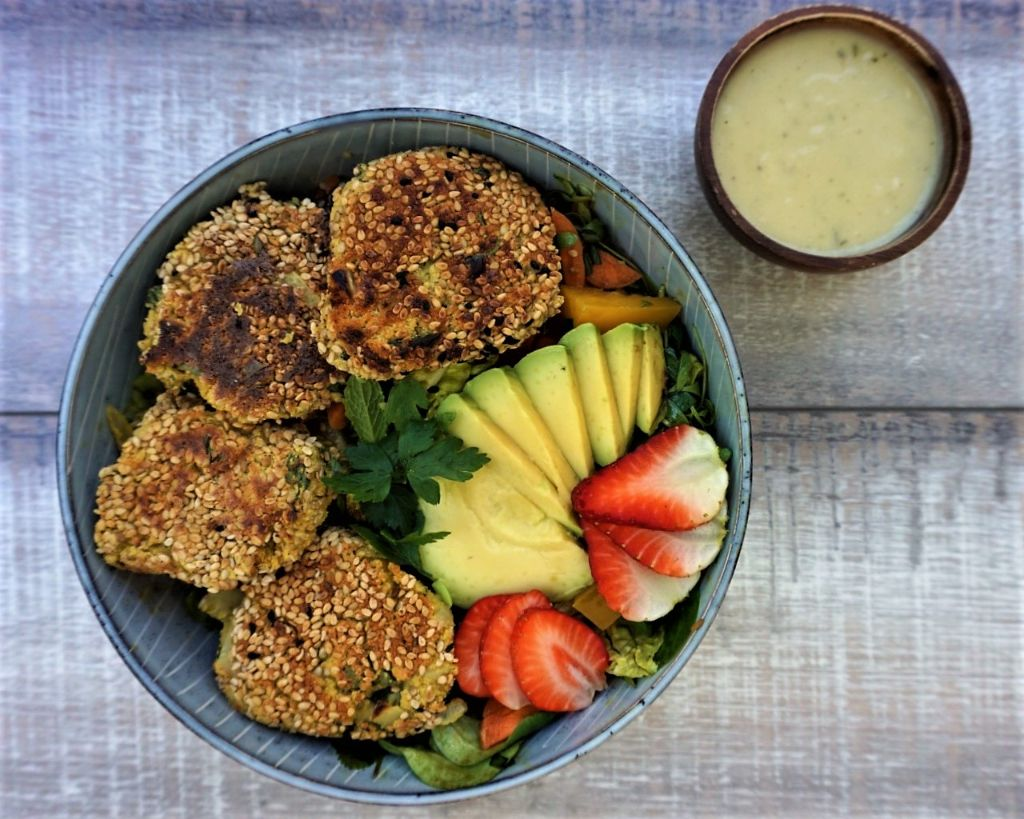 Vegan Falafel with mint and sesame