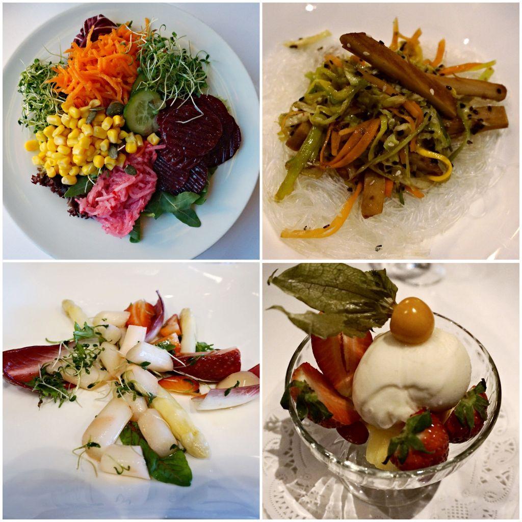 Meine Favoriten, Salad vom Buffet, Glasnudeln mit Gemüsenudelnm Spargelsalat, Obstsorbet