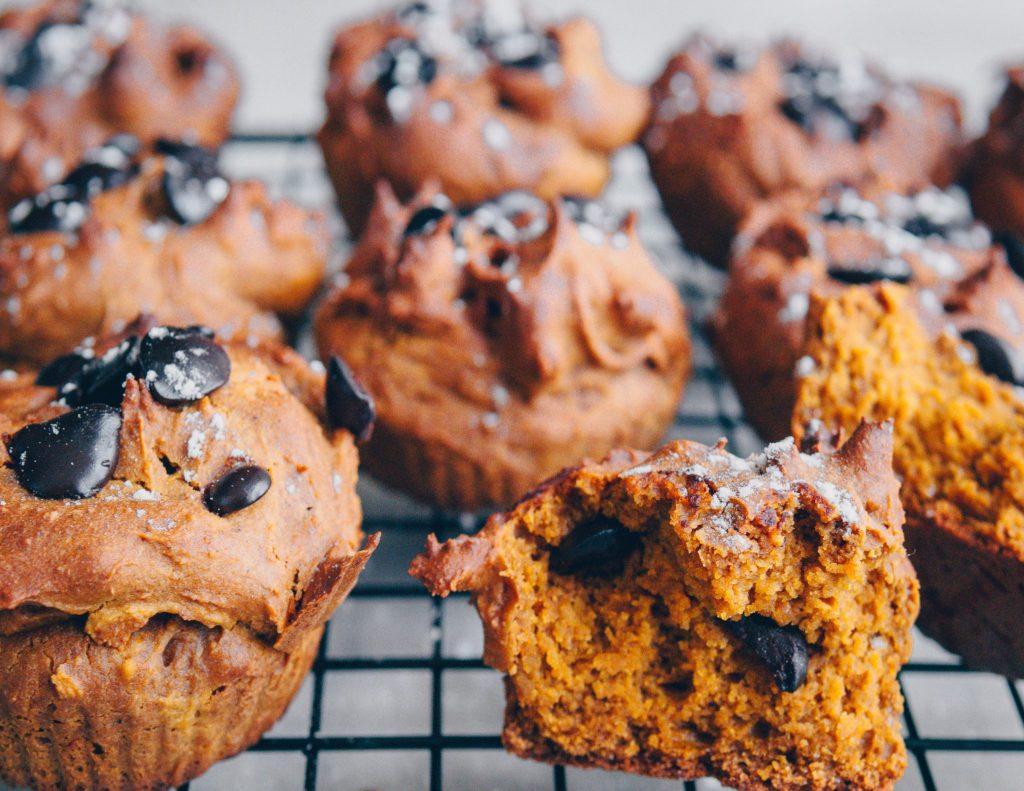 Kürbis-Gewürz Muffins, ölfrei, vegan, hclf