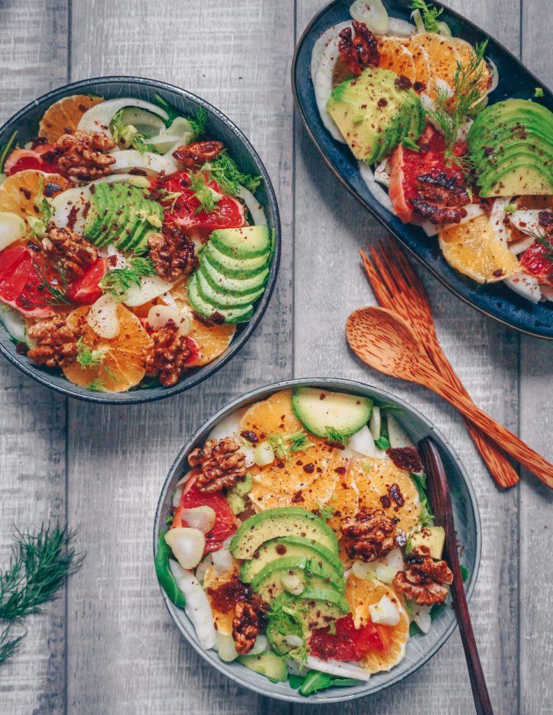 Veganes Weihnachtsmenü.Fenchel Orangen Salat Mit Karamellisierten Walnüssen Vegan Christmas