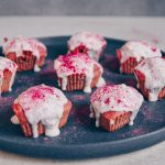 Red Velvet Heart Muffins with Frosting – oil-free