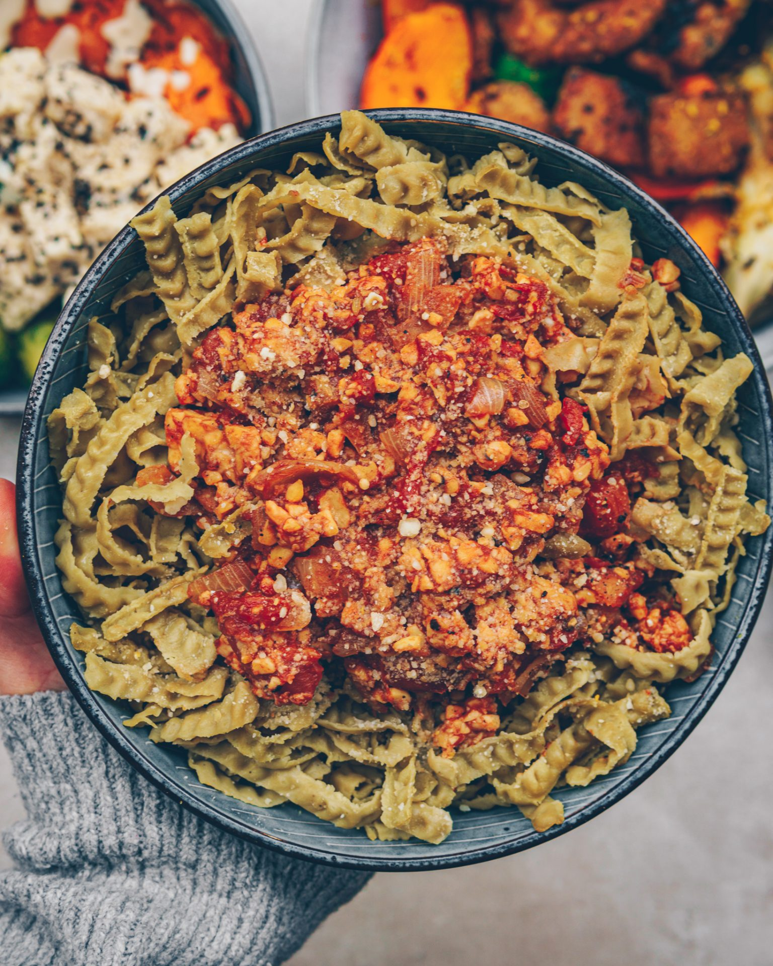 vegan and healthy tempeh Bolognese